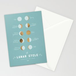 The Lunar Cycle • Phases of the Moon – Copper & Robin's Egg Blue Palette Stationery Cards
