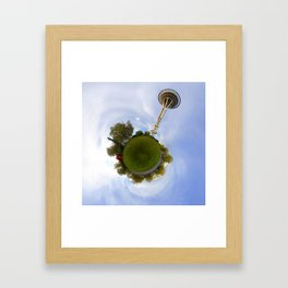 Space Needle Tiny Planet Framed Art Print