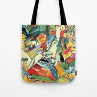 """kandinsky Tote Bags featuring Vasily Kandinsky Sketch for """"Composition II"""" by Artlala for MSF Doctors Without Borders"""