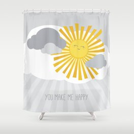 KAWAII SKY - smiling sun in grey clouds - you make me happy Shower Curtain