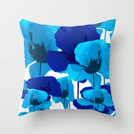 Blue And Turquoise Poppies On A White Background #decor #society6 #buyart Throw Pillow