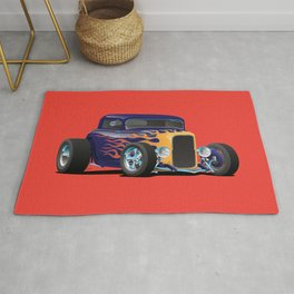 Vintage Hot Rod Car with Classic Flames Rug