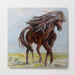 Splashing the Light - Young Horse Metal Print