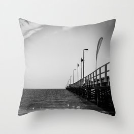 Jetty in Black and White Throw Pillow