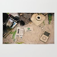 vintage map Area & Throw Rugs featuring Map by Carmen Moreno Photography