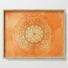 Watercolor Mandala Pattern Orange Serving Tray