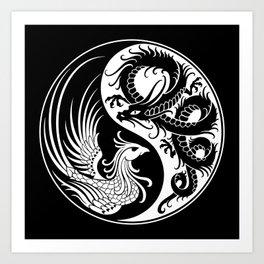 White and Black Dragon Phoenix Yin Yang Art Print