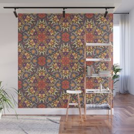 Colorful abstract ethnic floral mandala pattern design Wall Mural