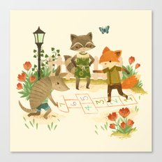 Hopscotch with Critters Canvas Print