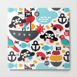 Cute kids pirate ship and parrot illustration pattern Metal Print