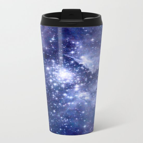 Cobalt Dreams, Universe Stars Space Nebula Metal Travel Mug