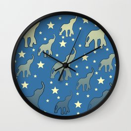 Blue Elephants Stars Pattern Wall Clock