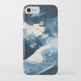 Against the Current: A bold, minimal abstract acrylic piece in blue, white and gold iPhone Case
