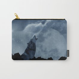 Wolf howling at full moon Carry-All Pouch