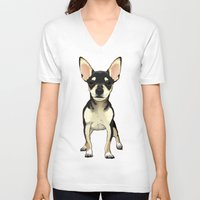 chihuahua V-neck T-shirts featuring Chihuahua by jackwatson05