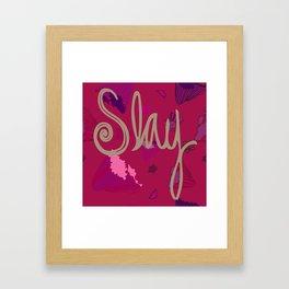 Slay on Purple Flowers Framed Art Print