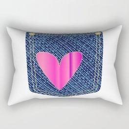Heart Denim Pocket Rectangular Pillow