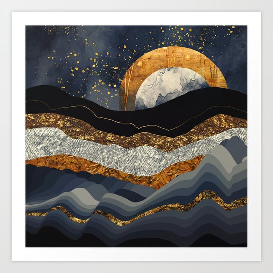 Metallic Mountains Art Print