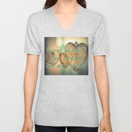 Romantic Wood Hearts Rustic Love Quote Bible Verse Unisex V-Neck