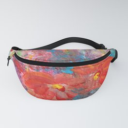 Red flowers in Vase painting Fanny Pack