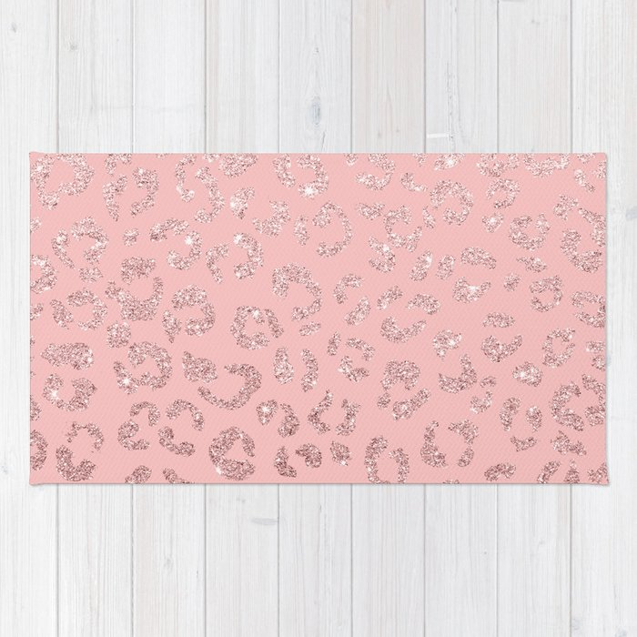 Modern faux rose gold glitter leopard ombre pink pattern Rug