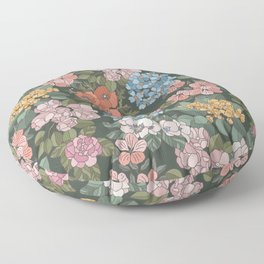 Colorful Botanic Flowers Floor Pillow