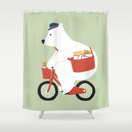 Polar bear postal express Shower Curtain