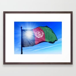 Afghanistan flag waving on the wind Framed Art Print