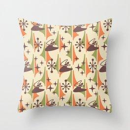 Mid Century Modern Cosmic Boomerang 726 Brown Orange and Green Throw Pillow