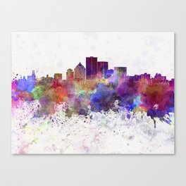 Rochester NY skyline in watercolor background Canvas Print