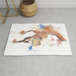 """Watercolor Painting of Picture """"Red Fox"""" Rug"""