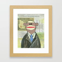 Sock Monkey 129: The Bean Counter Framed Art Print