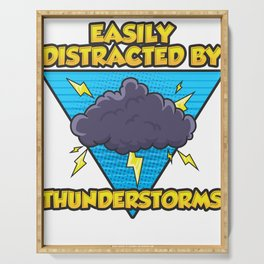 Easily Distracted By Thunderstorms Storm Chaser Serving Tray