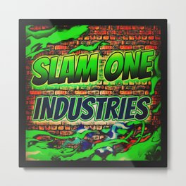 Slam 1 Industries Green Brick Metal Print