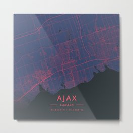 Ajax, Canada - Neon Metal Print