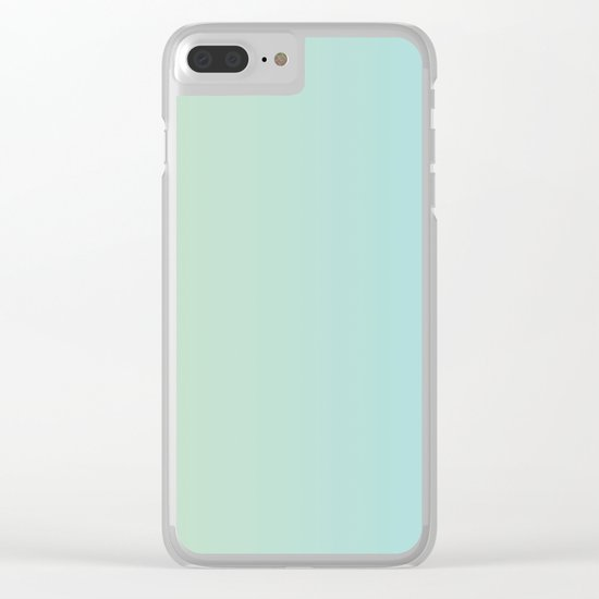 Turquoise Green Blue Gradient Clear iPhone Case