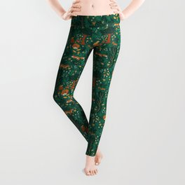 Foxes Playing in the Emerald Forest Leggings