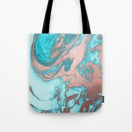 Artsy Chic Rose Gold Aqua Mint Blue Marble Pattern Tote Bag