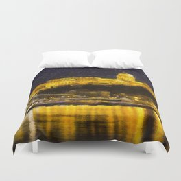 Budapest Chain Bridge And Castle Art Duvet Cover