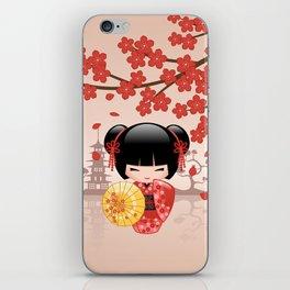 Japanese Red Sakura Kokeshi Doll iPhone Skin