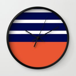 Summer Patio Perfect, Adobe Orange, White & Navy Wall Clock