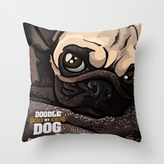 Miss Finn (Baby Pug) Throw Pillow