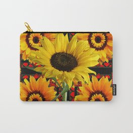 SOUTHWESTERN  BLACK COLOR YELLOW SUNFLOWERS ART Carry-All Pouch