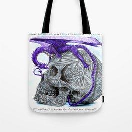 Secret's untolds- purple dragon on celtic skull Tote Bag