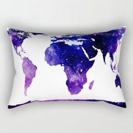 World Map Purple Blue Galaxy Rectangular Pillow