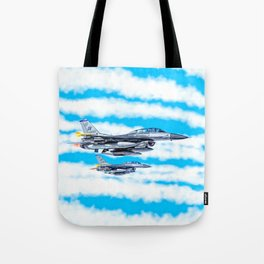 F-16 Fighting Falcon Jets In Flight Tote Bag