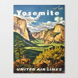 Yosemite National Park Vintage Travel Poster Landscape Illustration Canvas Print