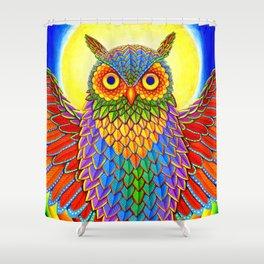 Colorful Rainbow Owl Shower Curtain