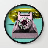 marylin monroe Wall Clocks featuring Call Marylin by KEFLIONE