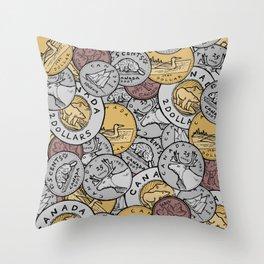 Canadian Coins Throw Pillow
